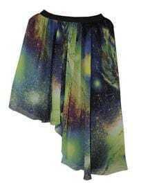 Galaxy Print Chiffon Asymmetric Skirt Green
