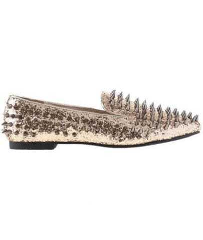 Rivets Gold Flat Shoes