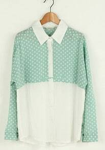 Light-green Patchwork Chiffon Dot Bat-wing Sleeve Shirt