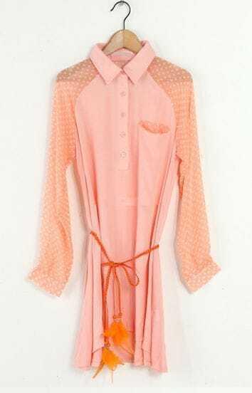 Pink Patchwork Pullover Dot Blet Shirt