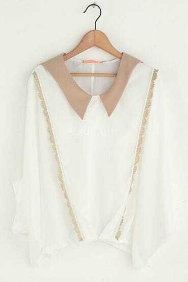 White Lapel Bat-wing Sleeve Lace Shirt