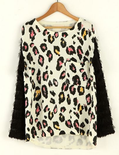 Leopard Round Neck Long-sleeved Sweater