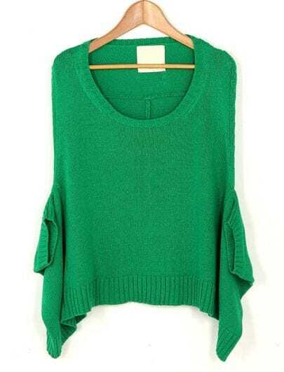Solid Cape Round Neck Bat Sleeve Sweater Green