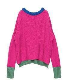 Round Neck Color Matching Bat Sleeve Sweater