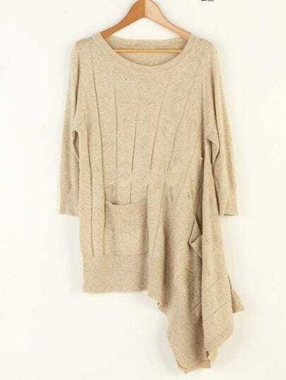 Solid Irregular Hem Round Neck Sweater Beige