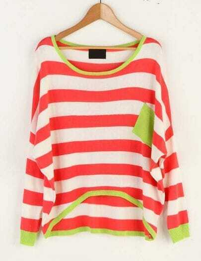 Striped Pocket Color Matching Bat Sleeve Sweater Red