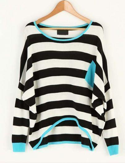 Striped Pocket Color Matching Bat Sleeve Sweater Black