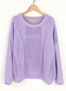 Purple Hollow Bat Sleeve Loose Sweater