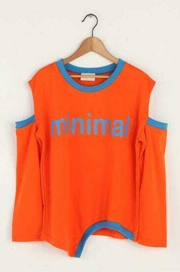 Orange minimal Cut Out Long Sleeve Irregular Hem T-shirt