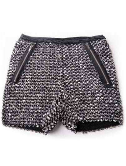 Sequined Straight Mid-waist Shorts Silver