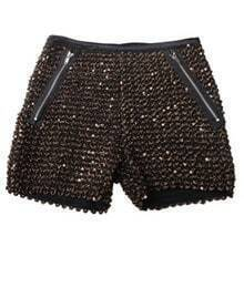Sequined Straight Mid-waist Shorts Gold