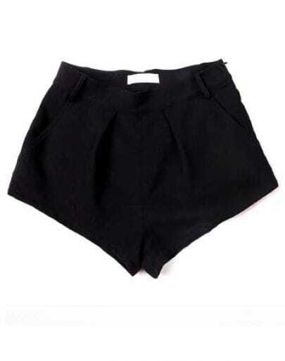 Straight Mid-waist Black Shorts