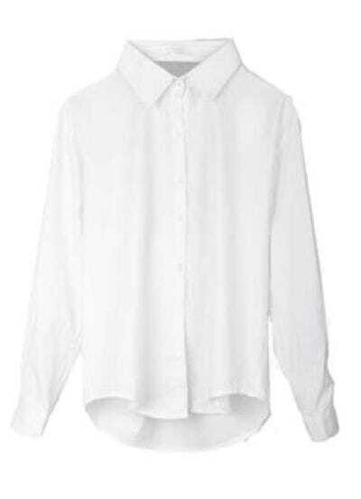 Solid Back Hollow Lapel Long-sleeved Shirt