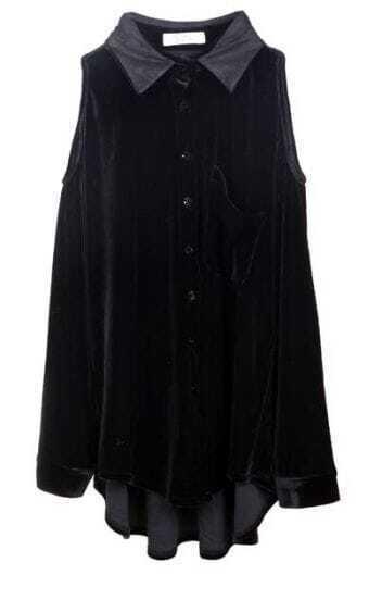 Off The Shoulder Black Loose Shirt