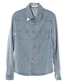 Pockets Lapel Long-sleeved Denim Shirt
