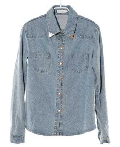 Pockets Lapel Long-sleeved Denim Shirt