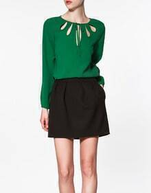 Green Round Neck Long-sleeved Cut Out Chiffon Shirt