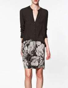 V Neck Long-sleeved Cotton Shirt Black