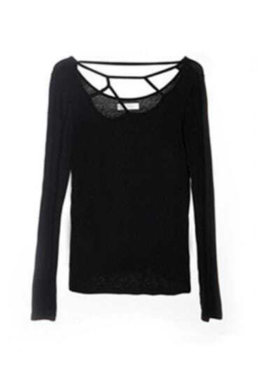 Black Long Sleeve Skinny T-shirt with Cut Out Neck