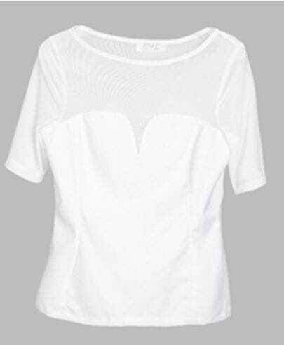 White Short Sleeve Bustier T-shirt with Mesh Detail