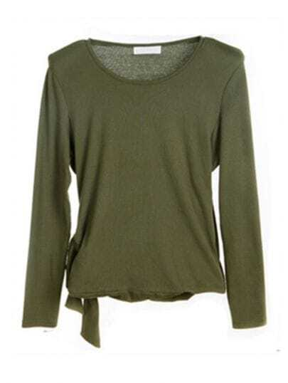 Army-green Bowtie Side Shoulder Pad Long Sleeve T-shirt
