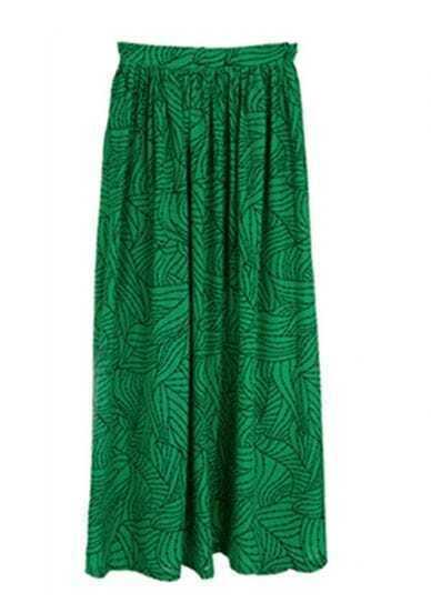 Green Irregular Sweep Full Lenth Skirt