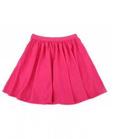 Rose-red Linen Pleated Skirt