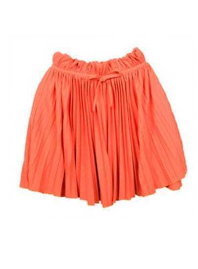Orange Chiffon Pleated Mini Skirt