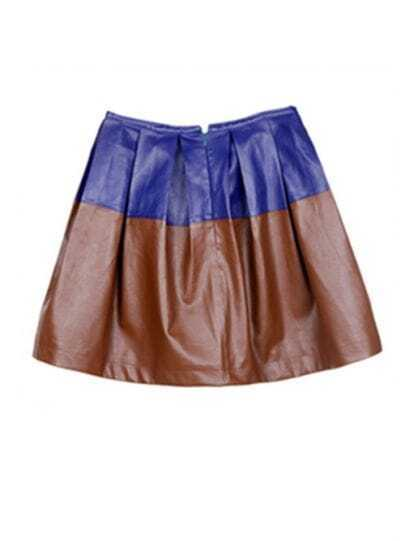 Blue-brown Patchwork Above Knee Skirt