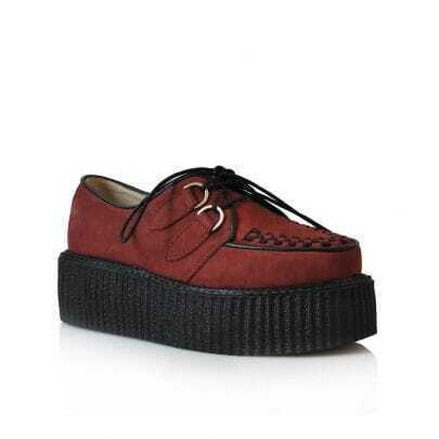 Leather Platform Creepers Claret