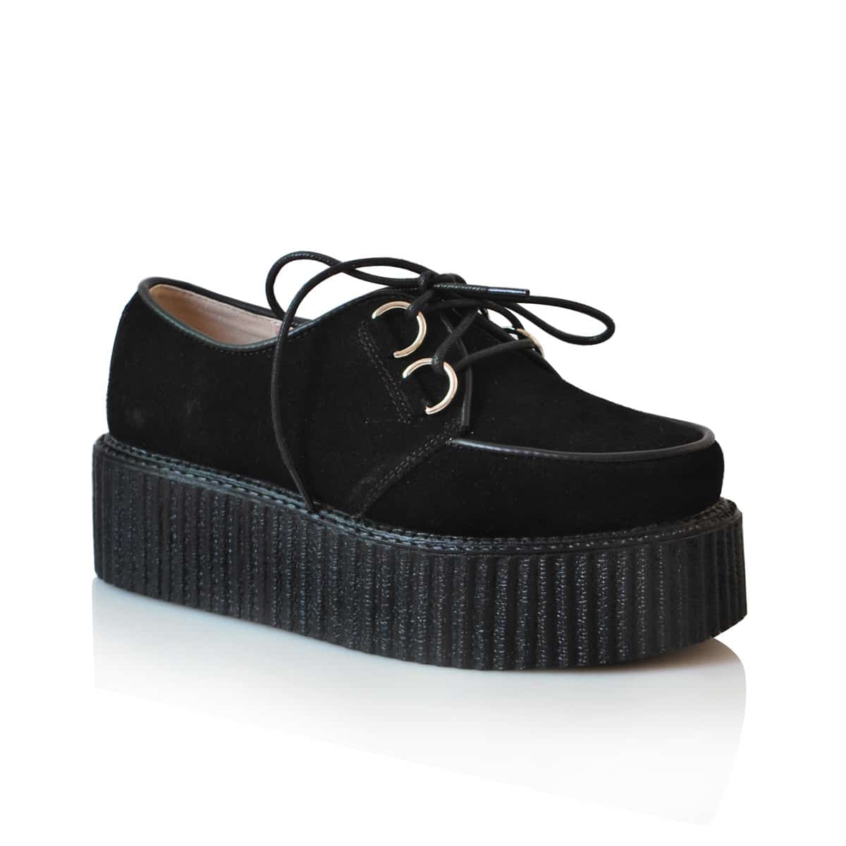 Leather Platform Creepers Black -SheIn(Sheinside)