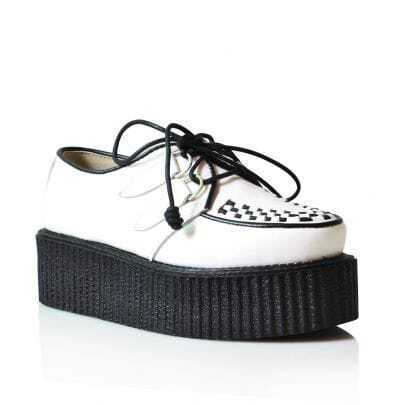 Leather Platform Creepers White