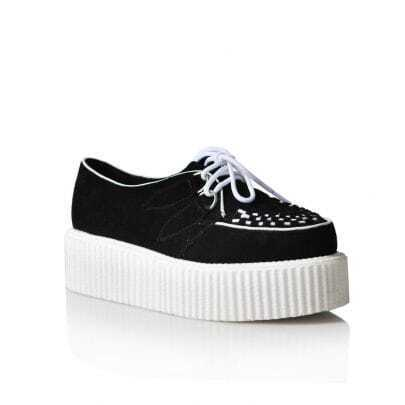 Black Suede White Platform Creepers