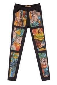 Printing Mia-waist Slim Pant Black