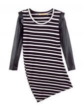 Vintage Striped Stiching Leather Dress Black