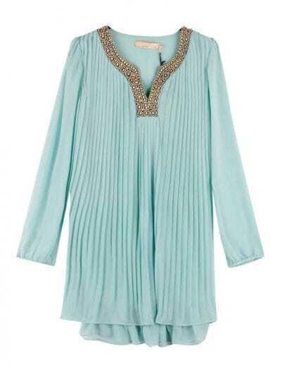 Vintage Beading Pleated Dress Blue