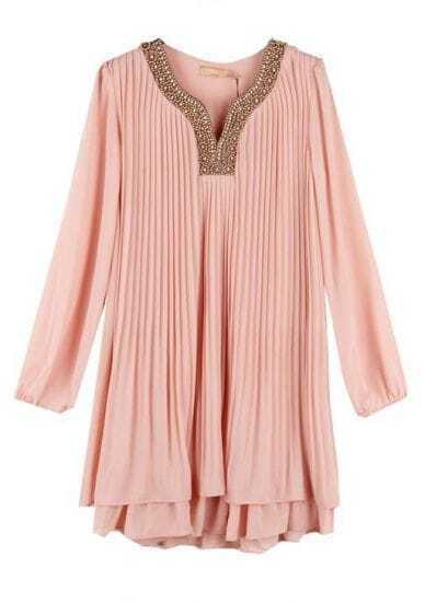 Vintage Beading Pleated Dress Pink