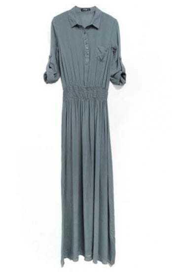 Vintage Solid Lapel Half-sleeved Dress Grey
