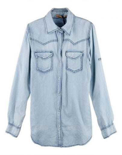 Lapel Long-sleeved Denim Shirt Light Blue