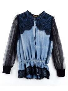 Vintage Stiching Lace Denim Shirt Black