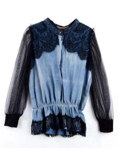 Vintage Stiching Lace Denim Shirt Black
