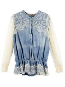 Vintage Stiching Lace Denim Shirt White