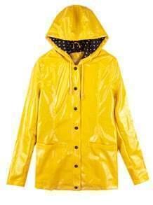 Yellow Vintage Dot Raincoat Outerwear