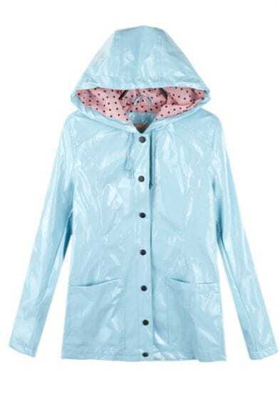 Light-blue Vintage Dot Raincoat Outerwear