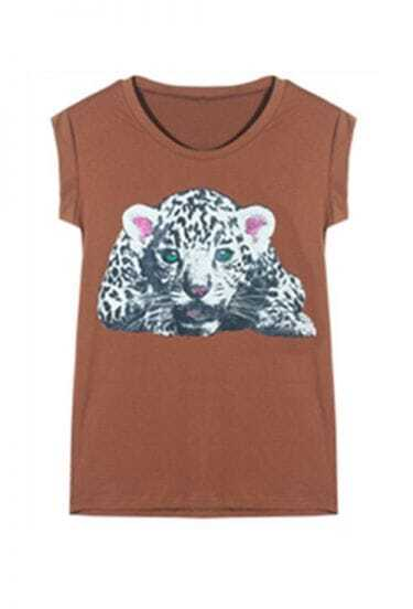 Brown Tiger Print Round Banded Cuffs T-shirt