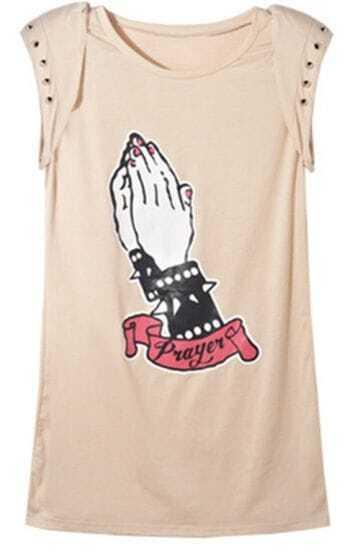 Nude Rivet Shoulder Pad Cap Sleeve Hand Print T-shirt