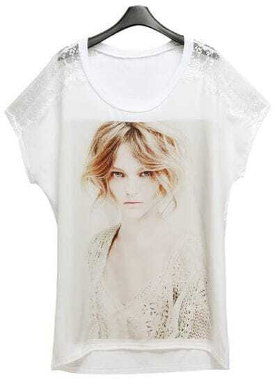 White Loose Print Patchwork Lace T-shirt