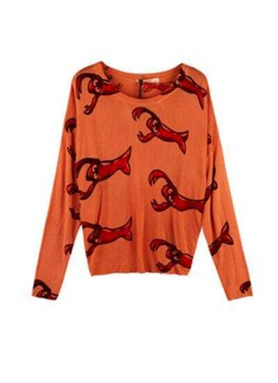 Orange Smart Parva Print Knit Sweater