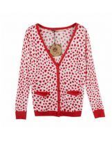 Color Matching Vintage Heart Print Knit Sweater
