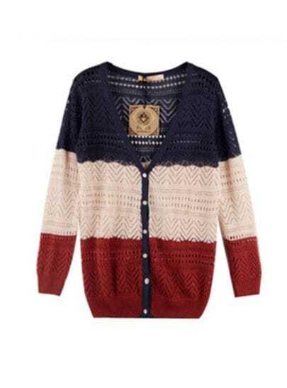 Dark-blue Vintage Ornamental Engraving Stripe Sweater